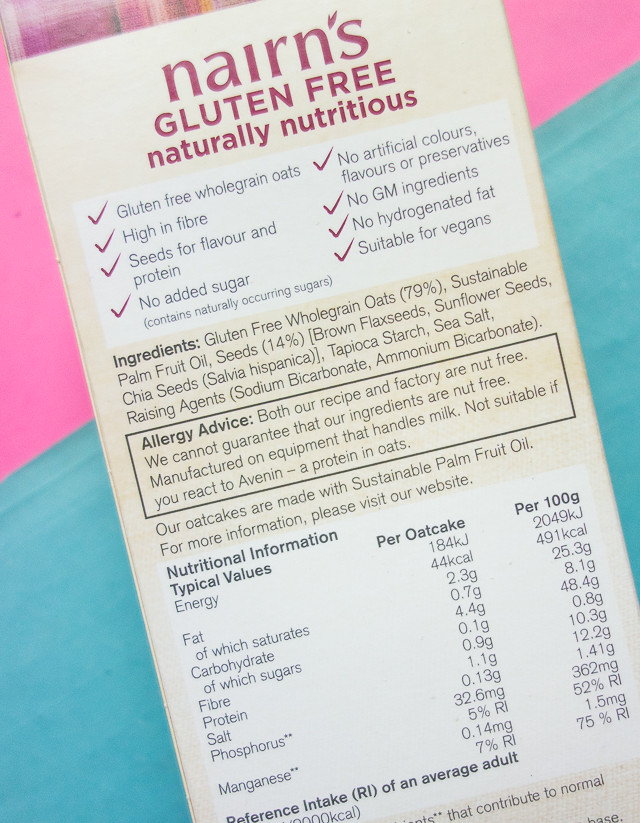 nairns gluten free super seeded oatcakes packet information