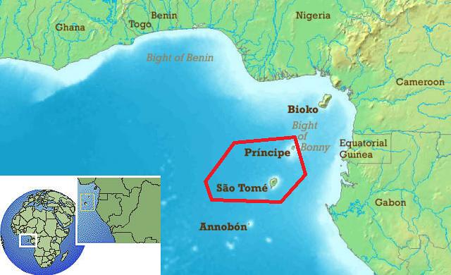 Mapa de situación de Santo Tomé y Príncipe