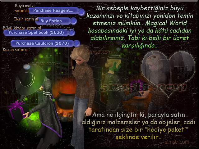 The Sims 2 Apartment Life Apartman Hayatı Witchiness Cadılık Purchase Reagent Spellbook Cauldron Buy Potion Büyü Malzemesi İksir Cadı Kazanı Büyü Kitabı Satın Almak