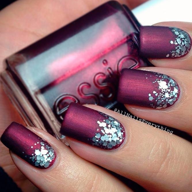 ombre-glitter-nails-designs-matte-dark-magenta-silver-squa…   Flickr