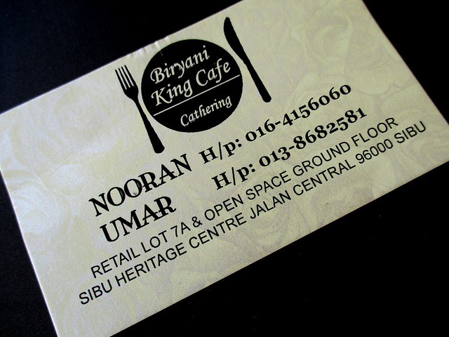 Biryani King business card