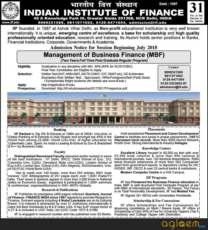 IIF Admission 2018   Indian Institute of Finance