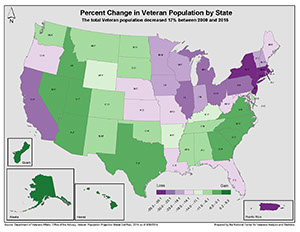 graphic map of veteran population by state