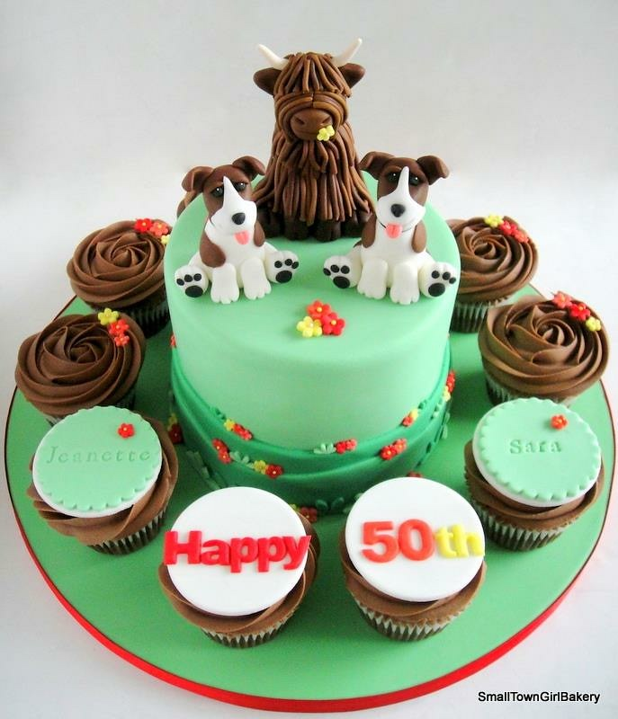 50th Birthday Cake With Highland Cow And Dog Toppers Flickr