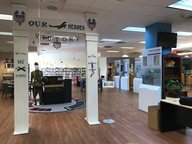 "A photo shows the entrance to the WWI exhibit set up in the Remembering the Great War: Alabama and World War One"" at the H. Grady Bradshaw – Chambers County Library in Valley, Alabama."