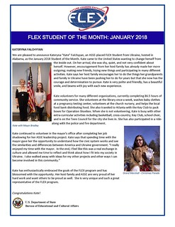 Congratulations to the January 2018 FLEX Student of the Month, Kateryna from Ukraine! | by FLEXprogram