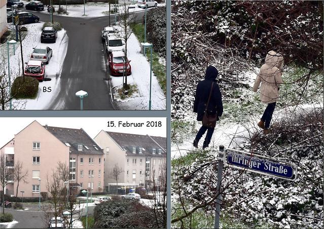 Winterliches Mannheim-Wetter am 15. Februar 2018 ... Schnee, Schneegestöber, 1 °C ... Foto: Brigitte Stolle