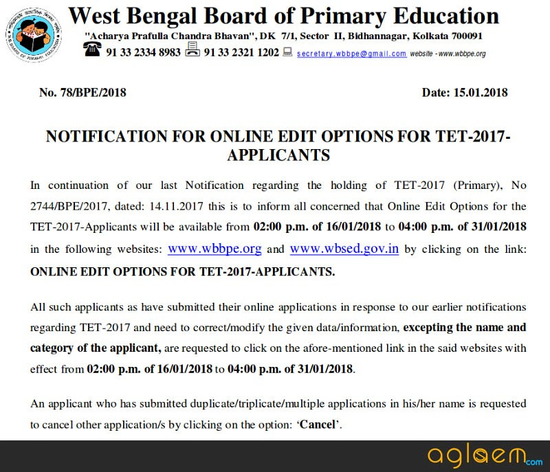 WB Primary TET WB Primary TET 2017: Expected Dates After WB Municipal Elections