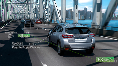 Subaru's EyeSight Driver Assist Technology provides the driver with extra awareness, safety, and added confidence. Here's the Adaptive Cruise Control at work.