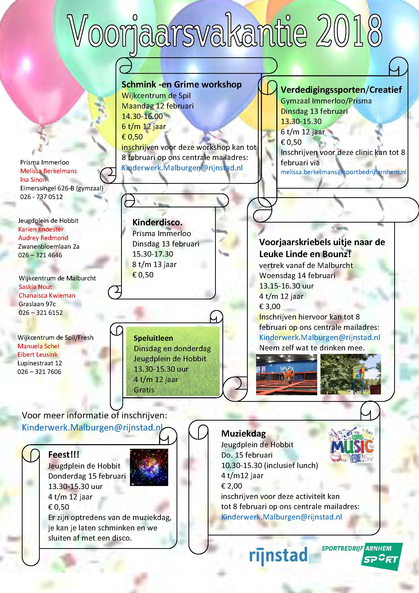 flyer activiteiten voorjaarsvakantie