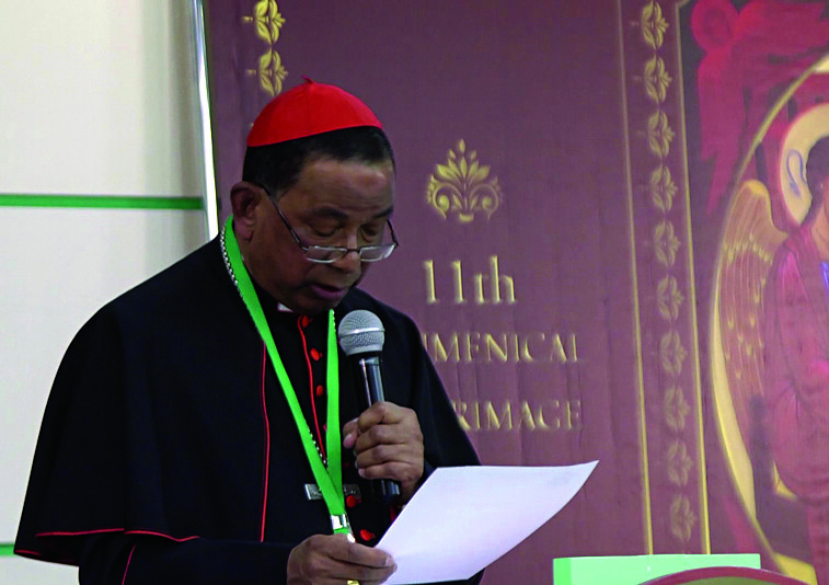 Cardinal Toppo deliveres his speech