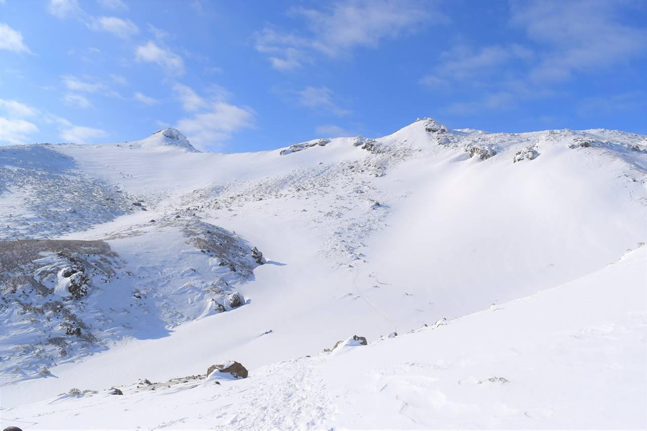 峰の辻から眺める雪の安達太良山山頂