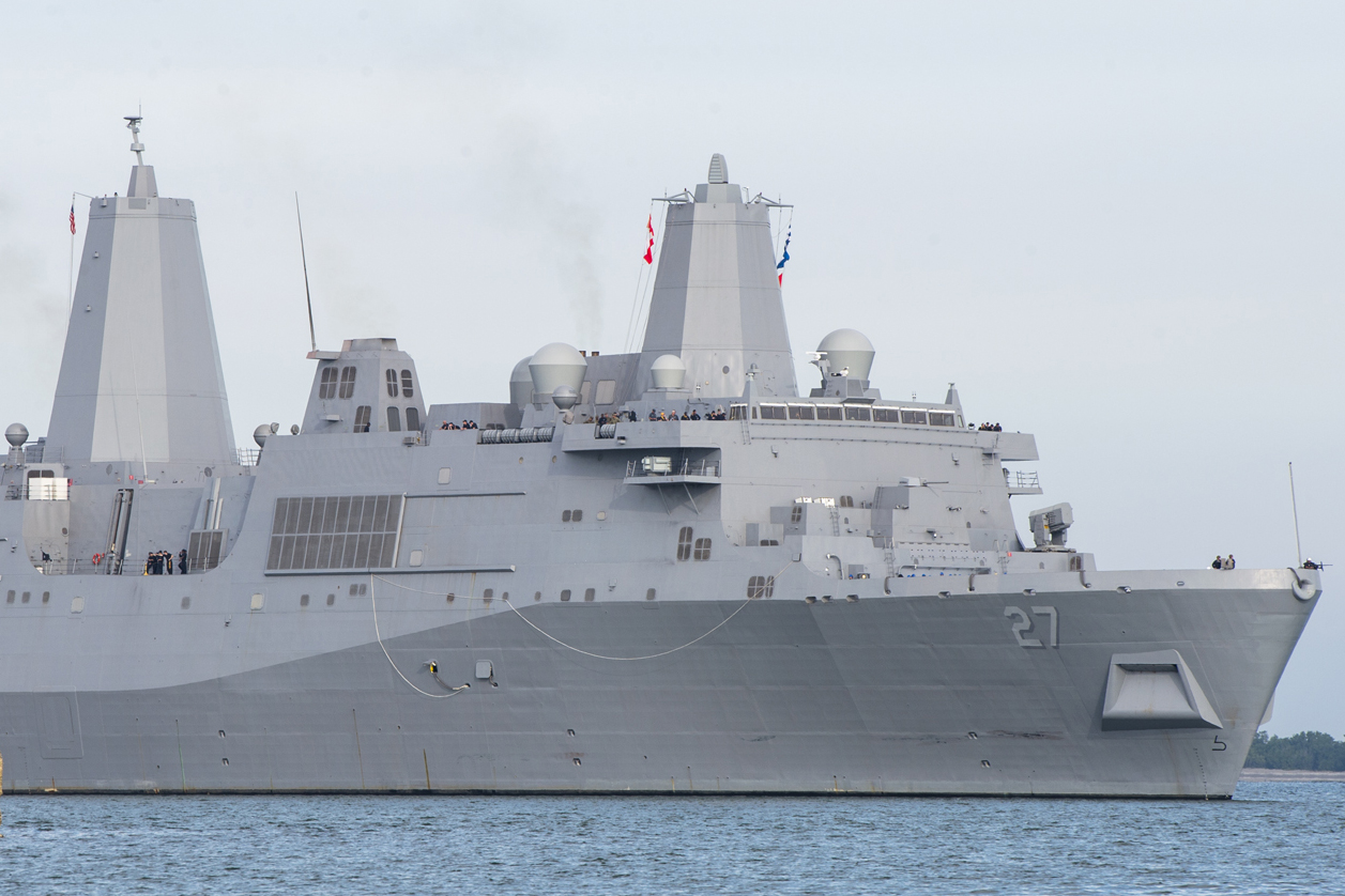 SAN DIEGO - The future amphibious transport dock ship USS Portland (LPD 27) arrived at its new homeport of San Diego, Jan. 22.