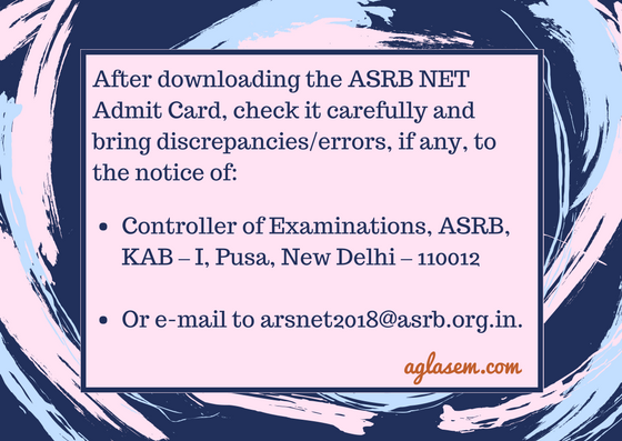 ASRB NET Admit Card 2018 Released at (www.asrb.org.in)   Download Here!
