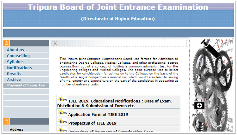 TBJEE 2019 Application Form