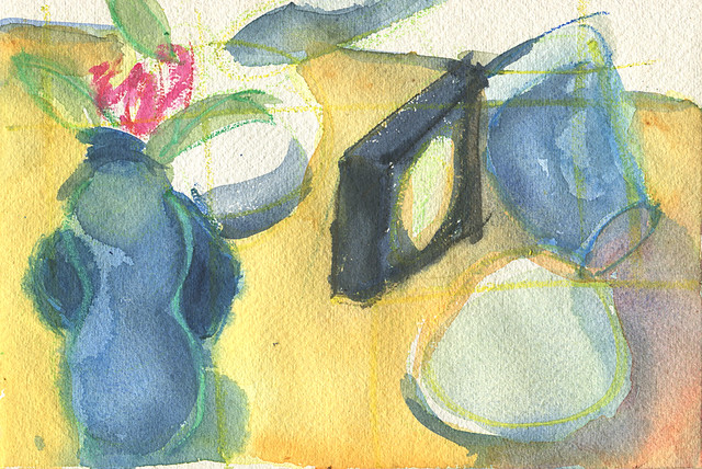 Semi abstract watercolour of objects on a bedside cabinet