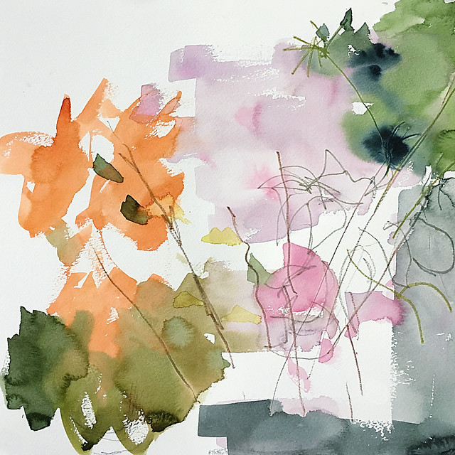 Abstract still life watercolour painting