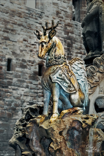 Image of a Deer Statue on the Fountain at Linlithgow Palace in Scotland