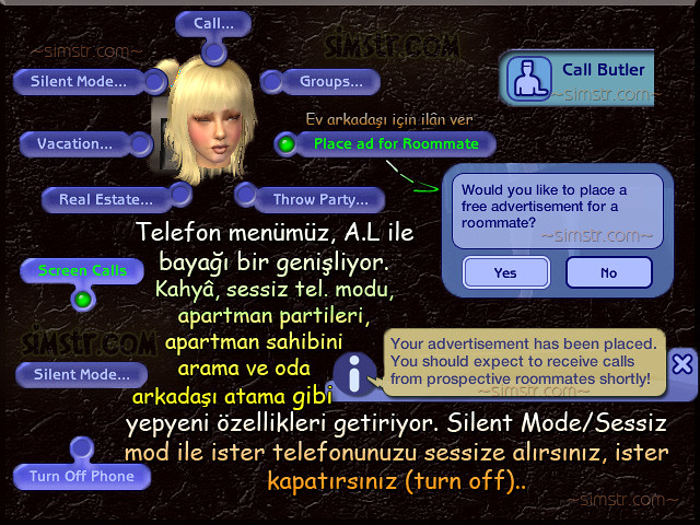 The Sims 2 Apartment Life Apartman Hayatı Telephone Silent Mode Place ad for Roommate