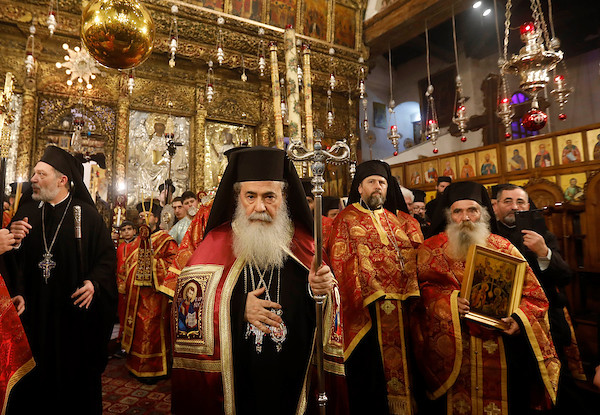 jerusalems greek orthodox patriarch theophilos iii attends a christmas service according to the eastern orthodox calendar - Greek Orthodox Christmas