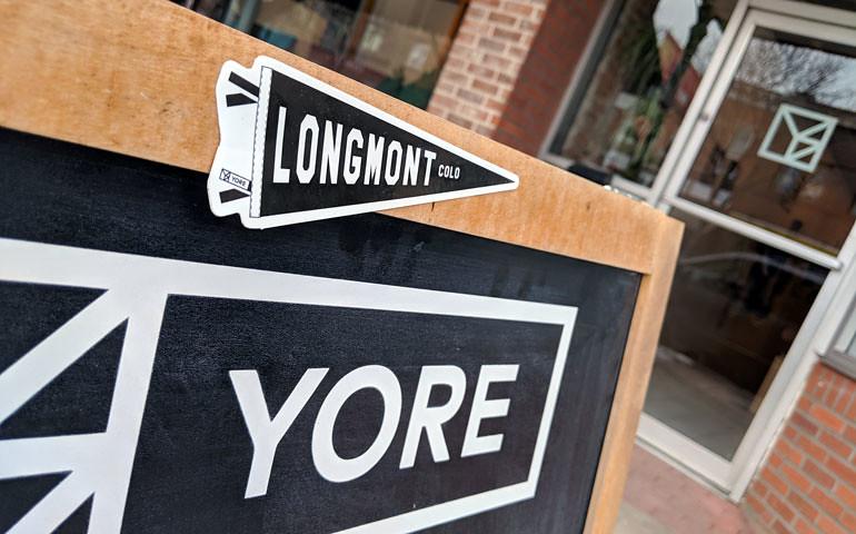 Stickergiant yore longmont pennant die cut sticker 2018
