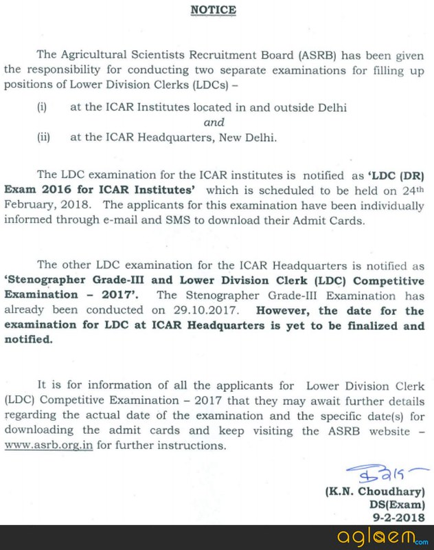 ASRB Stenographer and LDC Grade III Admit Card 2017