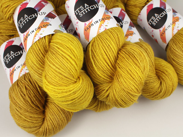 Hand-dyed superwash British Bluefaced Leicester pure wool yarn 100g – 'Colonel Mustard'