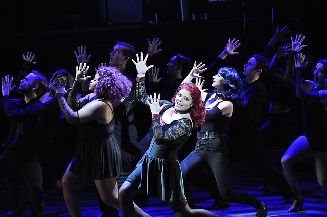 "Cast members from the musical ""Chicago"" dance on stage during a dress rehearsal."