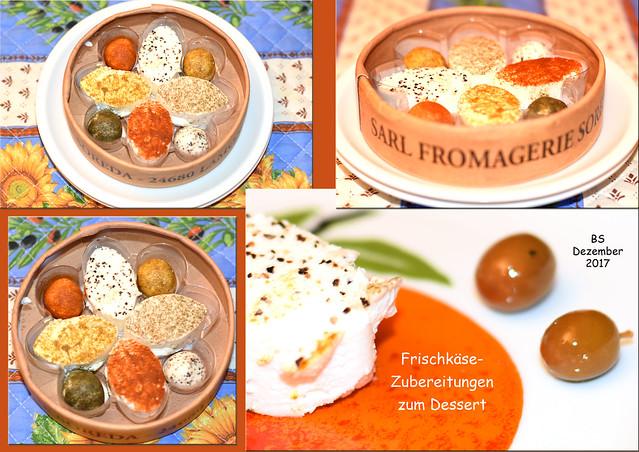 Zweigängiges Menü im Dezember 2017: Zum Käse-Dessert: Frischkäsezubereitungen ... Foto: Brigitte Stolle, Mannheim