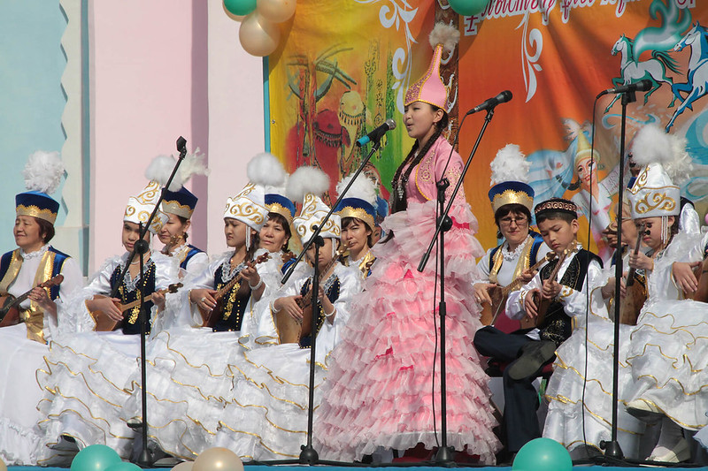Performers in Kazakh attire