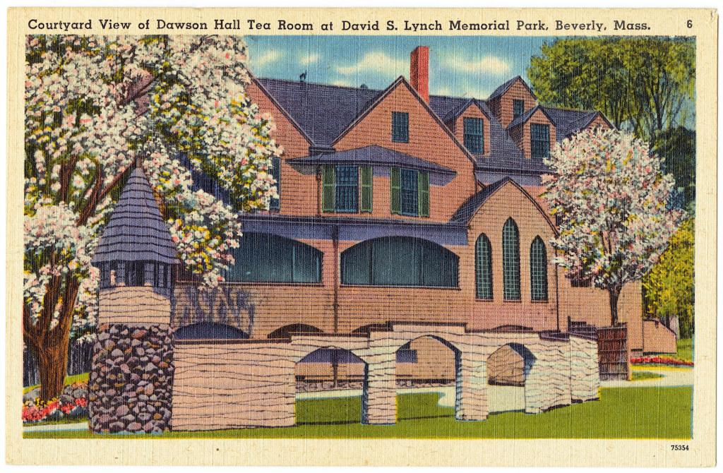 Courtyard view of Dawson Hall Tea Room at David S. Lynch Memorial Park, Beverly, Mass.. (vintage postcard)