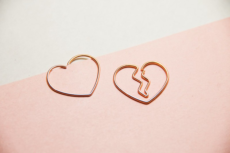 Broken heart paper clips