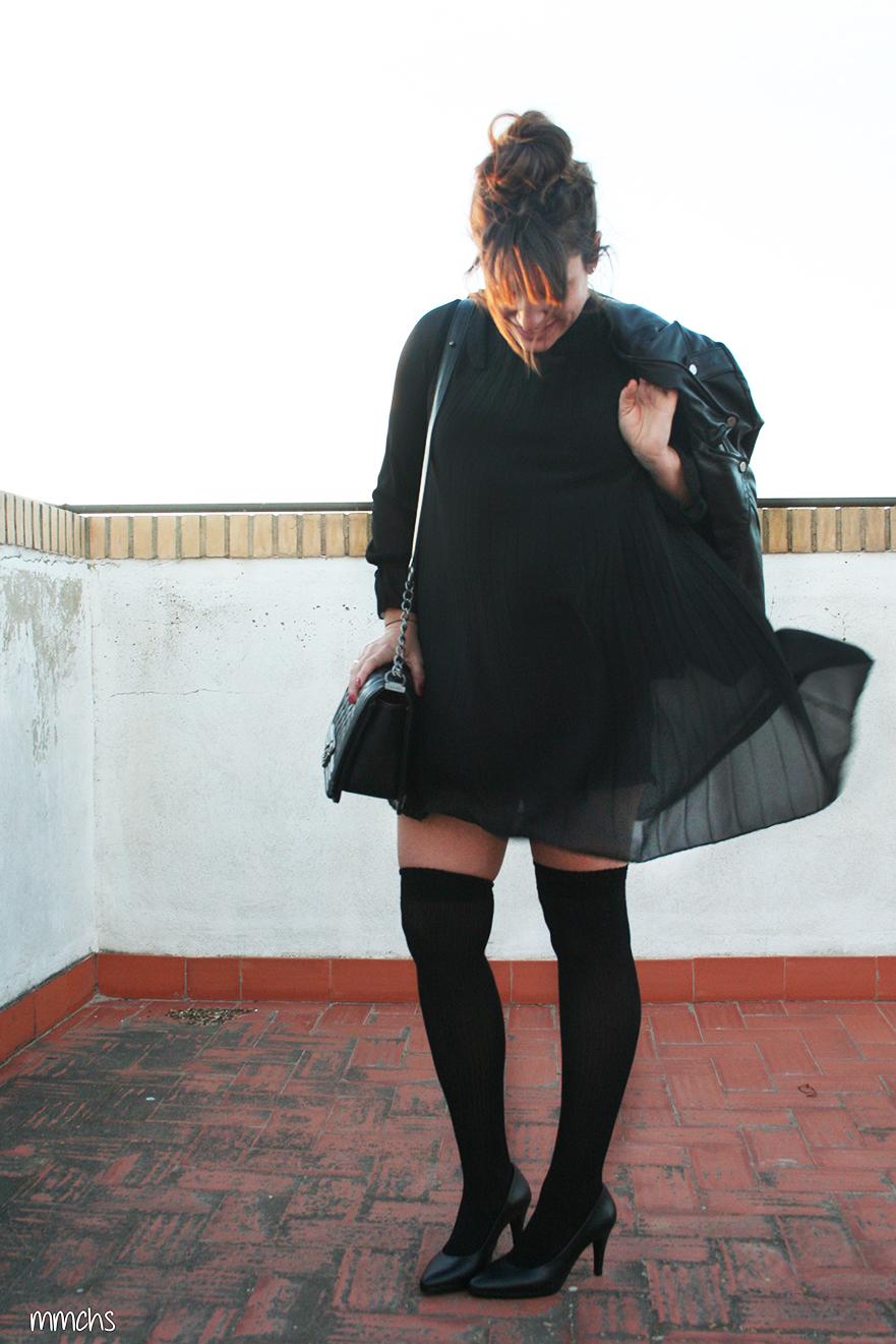 vestido negro de fiesta transparente