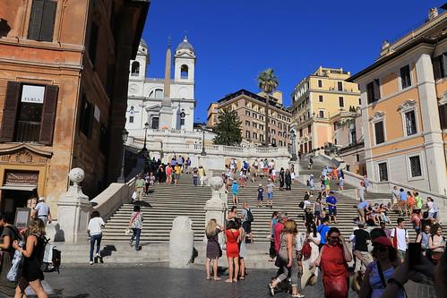 La scalinata di Trinità dei Monti a Piazza di Spagna