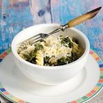 Grünkohl-Pasta mit Thymian-Ziegenfrischkäse