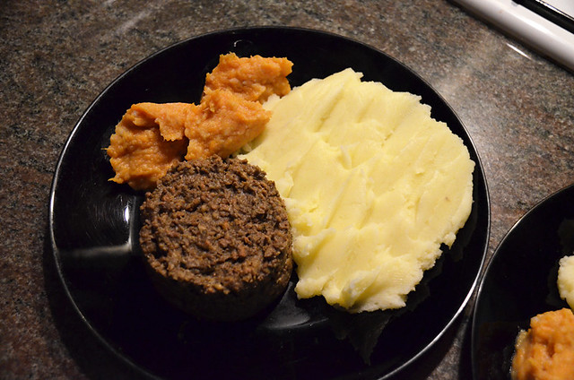 Homemade haggis, neeps and tatties