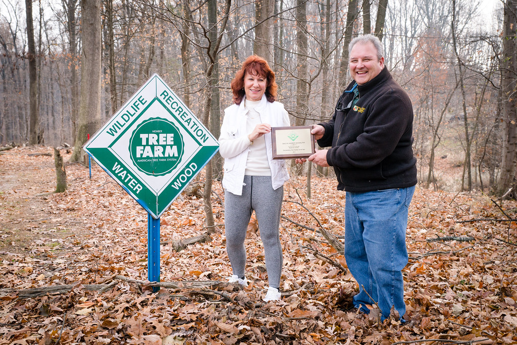Forester Rob Prenger with Sally Marker-Showalter of Showalter Tree Farm