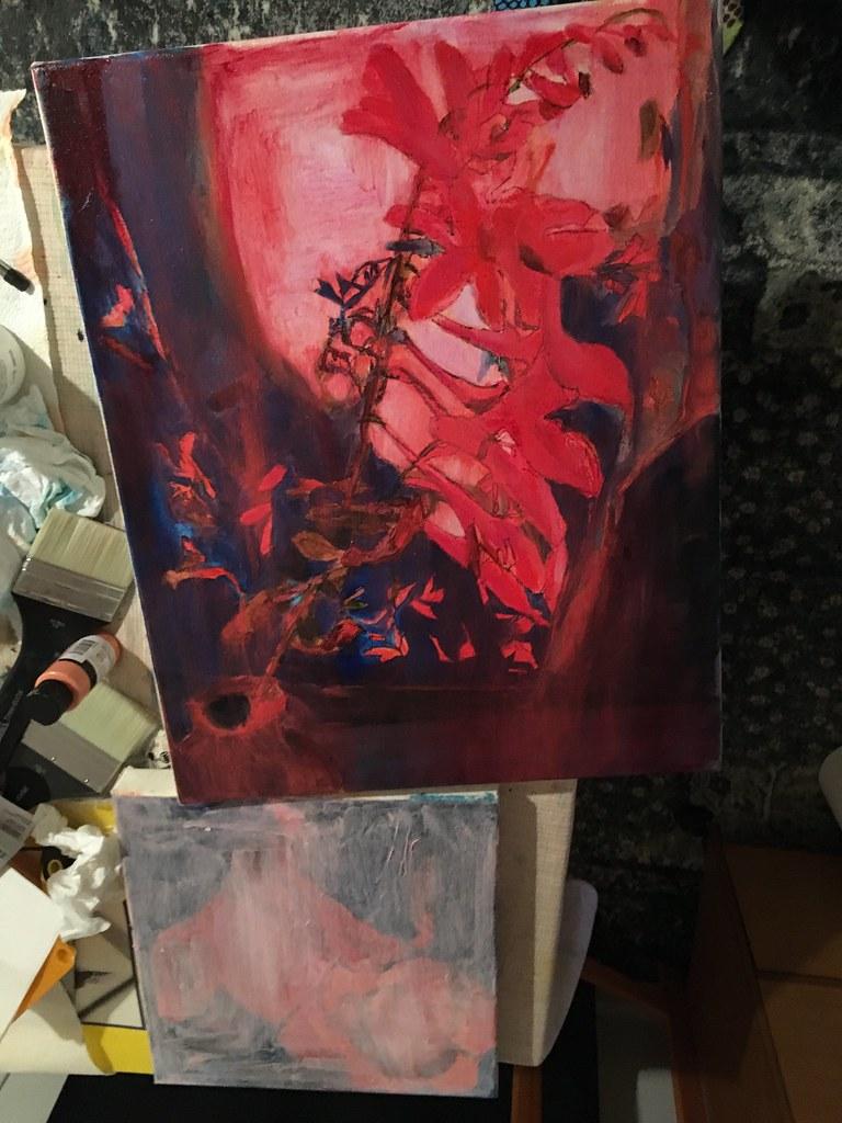 Crocosmia oil painting in progress