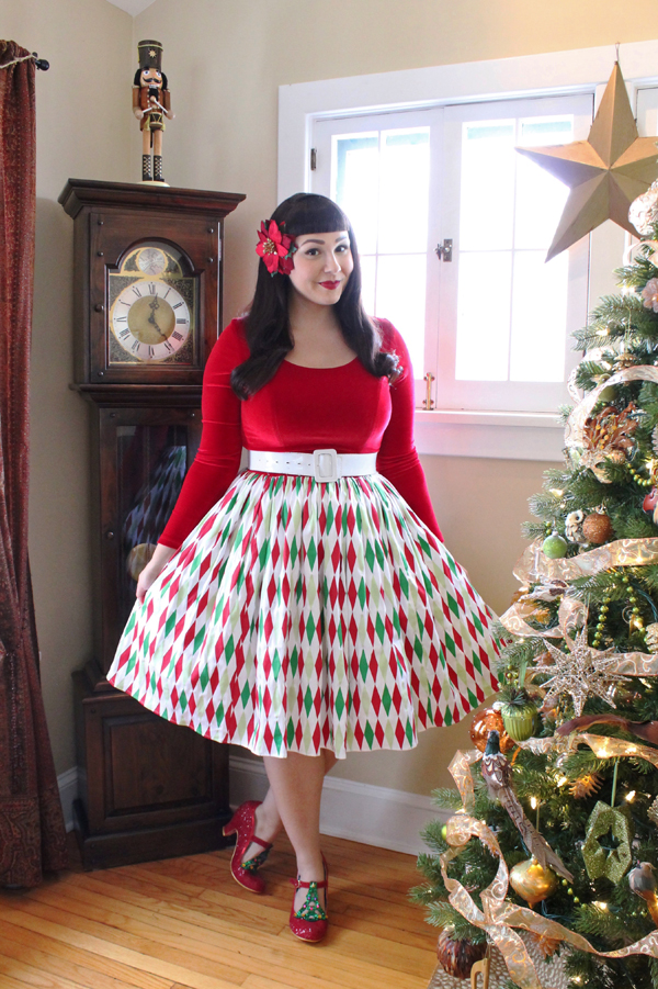 pinup girl clothing holiday harlequin genevieve dress