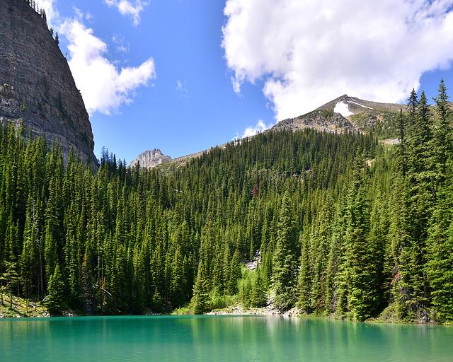 El lago espejo o también conocido como Mirror Lake, rodeado de bosques verdes