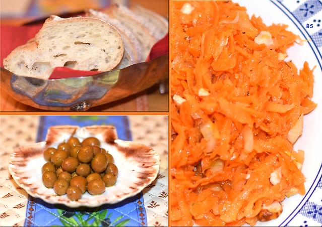 Zweigängiges Menü ... Nebenbei und dazu: Baguette, kleine grüne Oliven, Karottensalat mit Äpfel und Nüssen ... Fotos: Brigitte Stolle