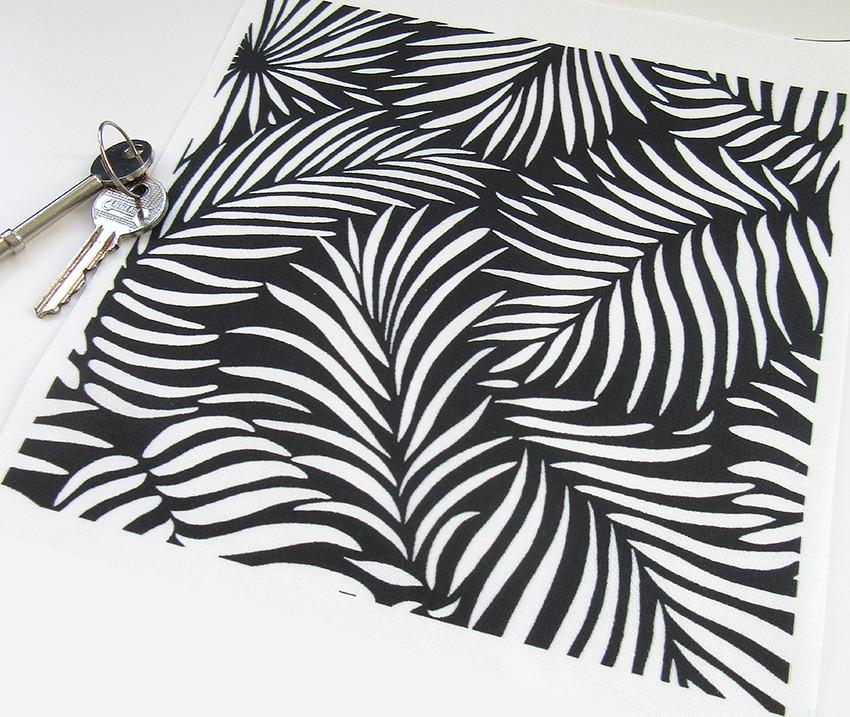 Black White Tropical Palm Leaf Pattern