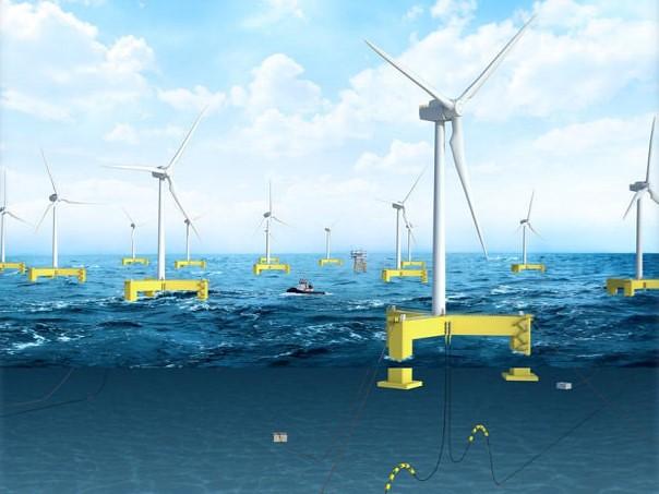 「台海桃園(W1N)」由法商歐風能源(EOLFI)投資,也是目前送審的離岸風機中唯一採用浮動式型態的。取自簡報資料。