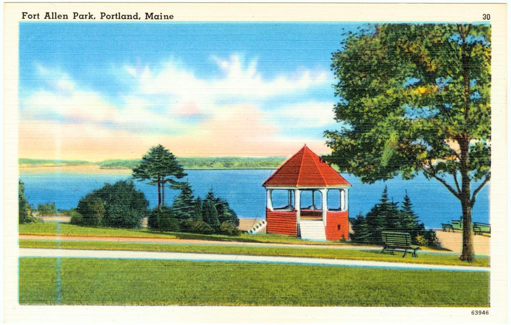 Fort Allen Park, Portland, Maine (vintage postcard)