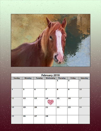 Image of a Horse on a 2018 February Month Calendar