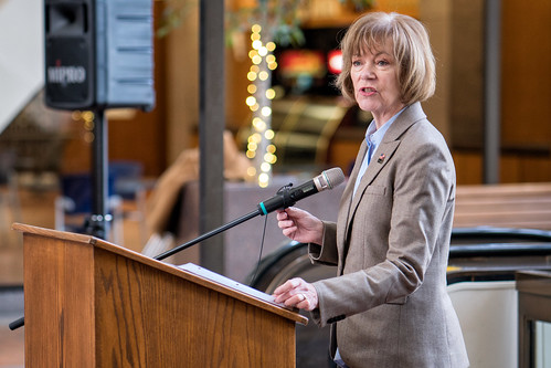 Senator Tina Smith speaking at an event in support of DACA at Hennepin County Government Center Minneapolis, MN | by Lorie Shaull