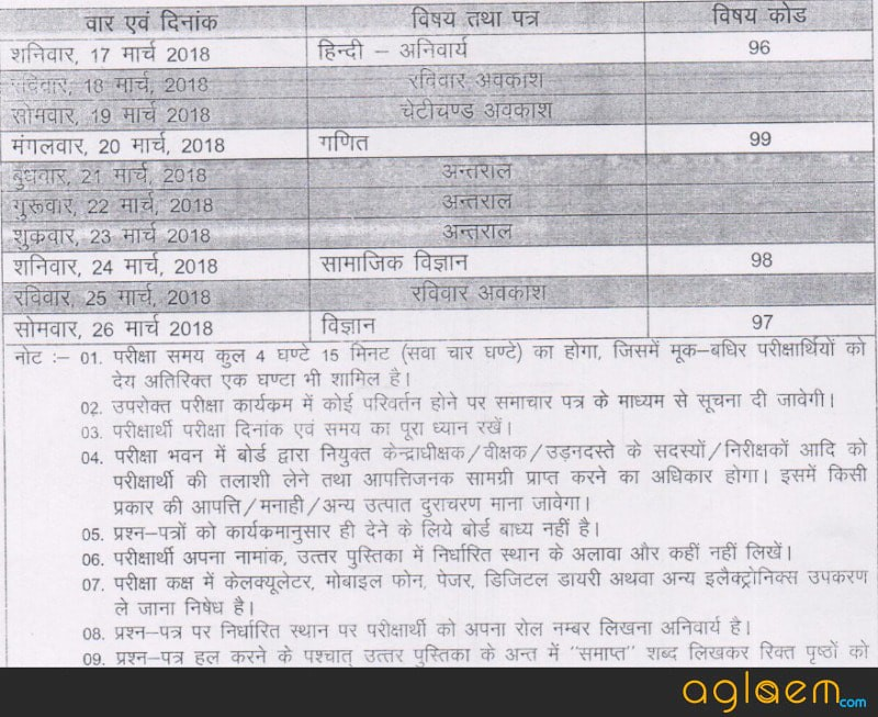 Rajasthan Board 10th Time Table 2018