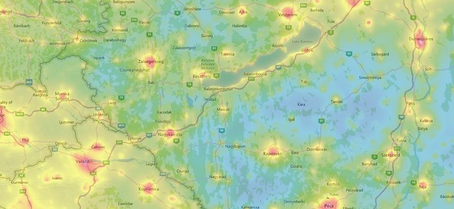 VCSE - A fényszennyezés mértéke a délnyugati határok mentén - LightPollutionMap