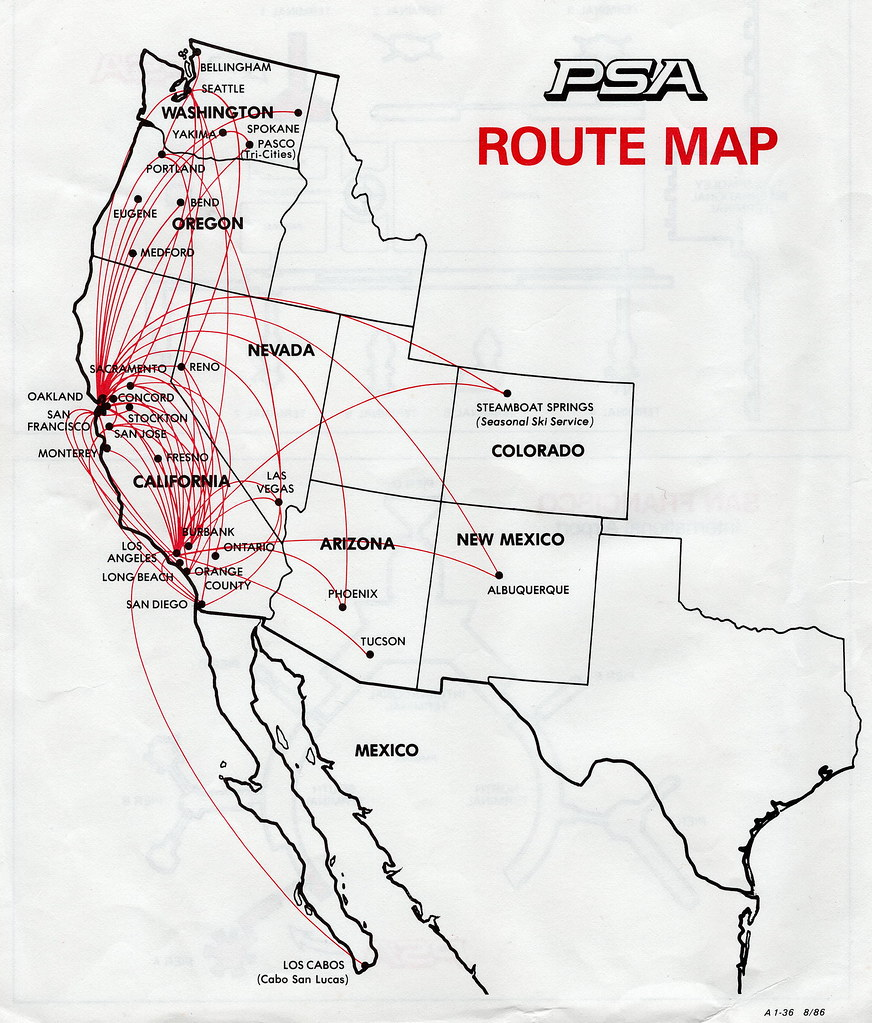 psa route map, 1986 | the pacific southwest airlines (psa) r… | flickr