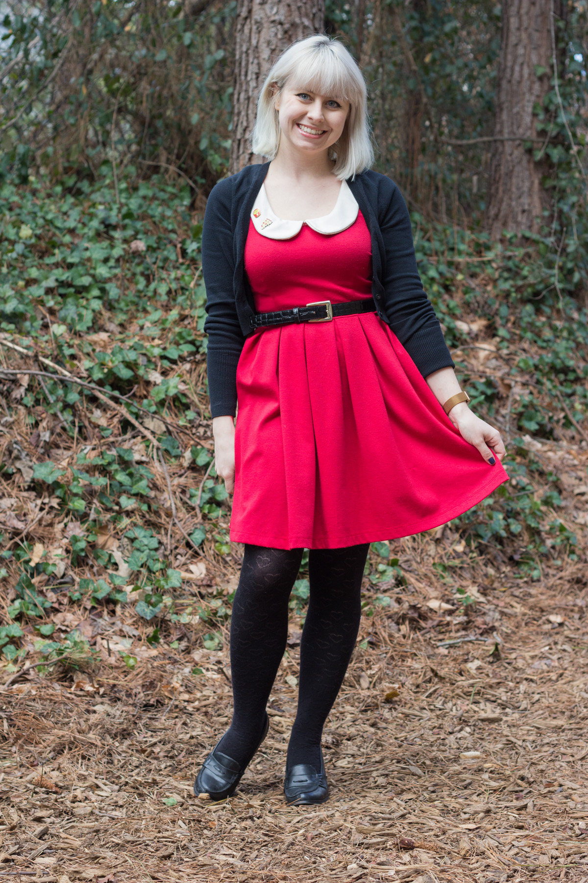Peter Pan Collar Red Modcloth Dress with a Cropped Cardigan and Heart Print Tights